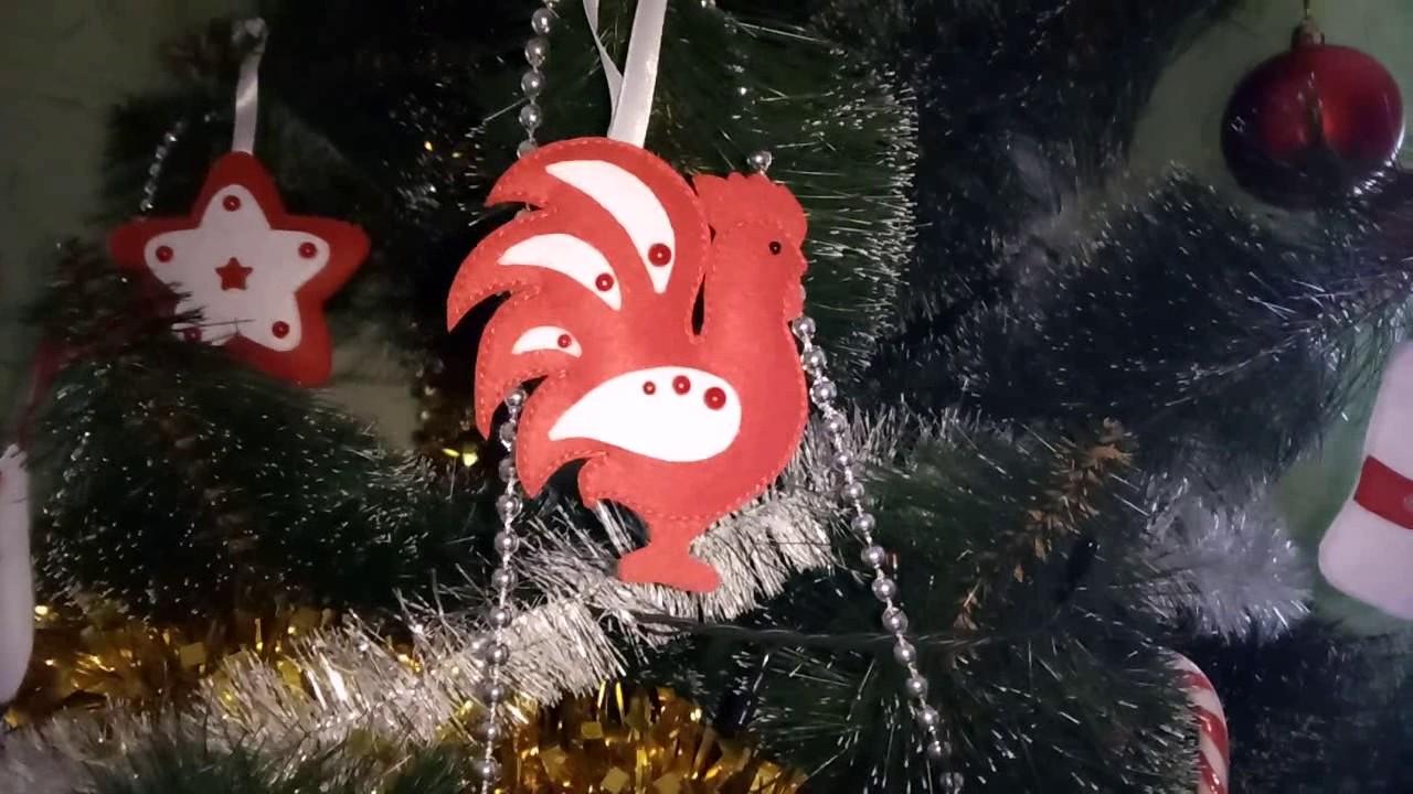 Новогодние игрушки из фетра КРАСНАЯ коллекция Петух ...