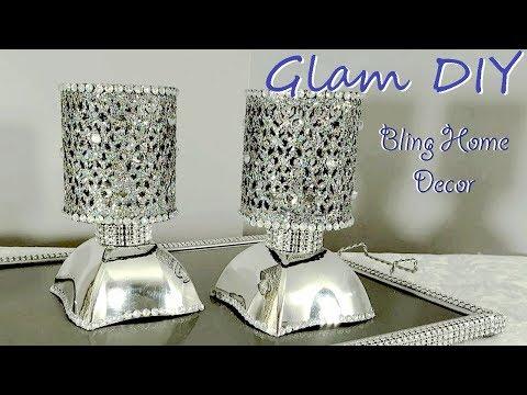 Dollar Tree DIY Glam Bling Faux Mirror Tealight Holders Bling Home Decor
