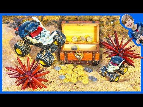 Monster Trucks For Children  Pirate Surprise Treasure Hunt!
