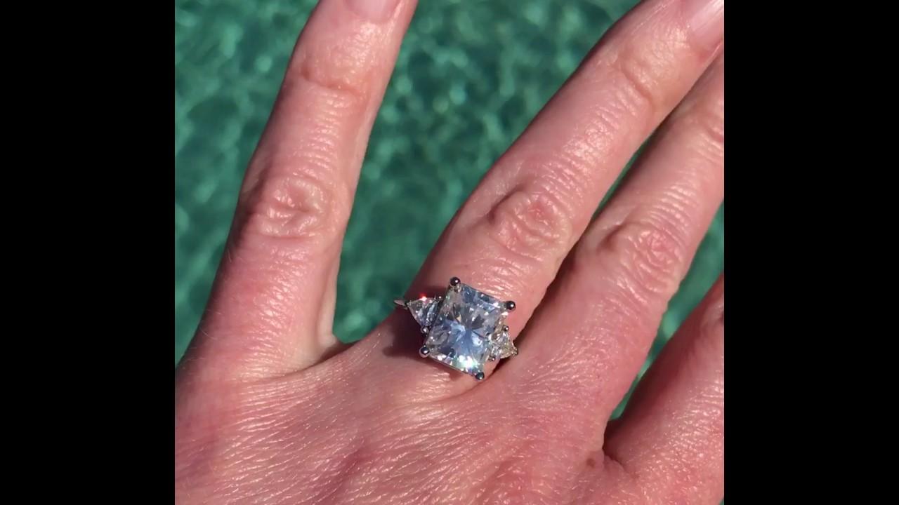 NEO Moissanite - 3.9 Carat Radiant Cut Engagement Ring - YouTube