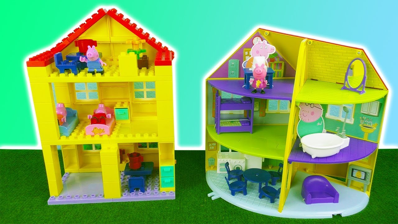 Peppa Wutz Unboxing Peppa Pig Family House Duplo Lego Construction Set Peppas Family Home