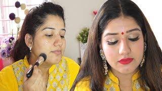 घर पर मेकअप कैसे करें ?/Makeup for wedding/party/reception in easy steps.