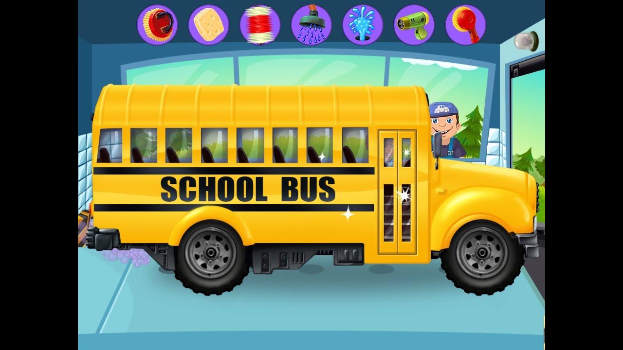 My Little Car Wash School Bus - YouTube