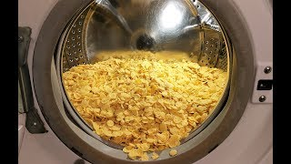 Experiment - Corn Flakes - in a Washing Machine - Centrifuge | GoPro |