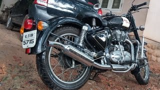 SEXY sound of my Royal Enfield Classic BULLET with OFF-ROAD silencer.