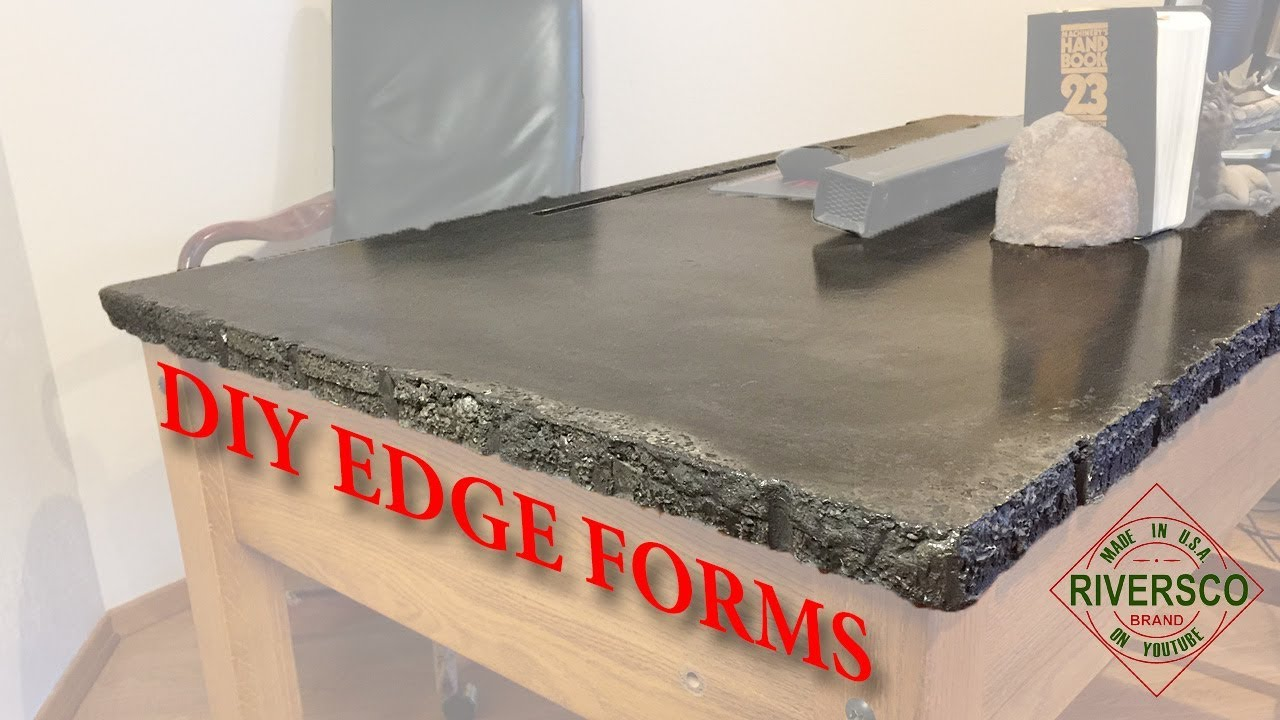 Diy Concrete Countertop Desk Custom Edge Effects Youtube