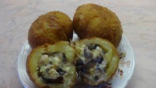 Картофель фаршированный грибами с курицей, с хрустящей корочкой