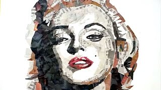 CÓMO HACER UN RETRATO COLLAGE! (MARILYN MONROE COLLAGE PORTRAIT)
