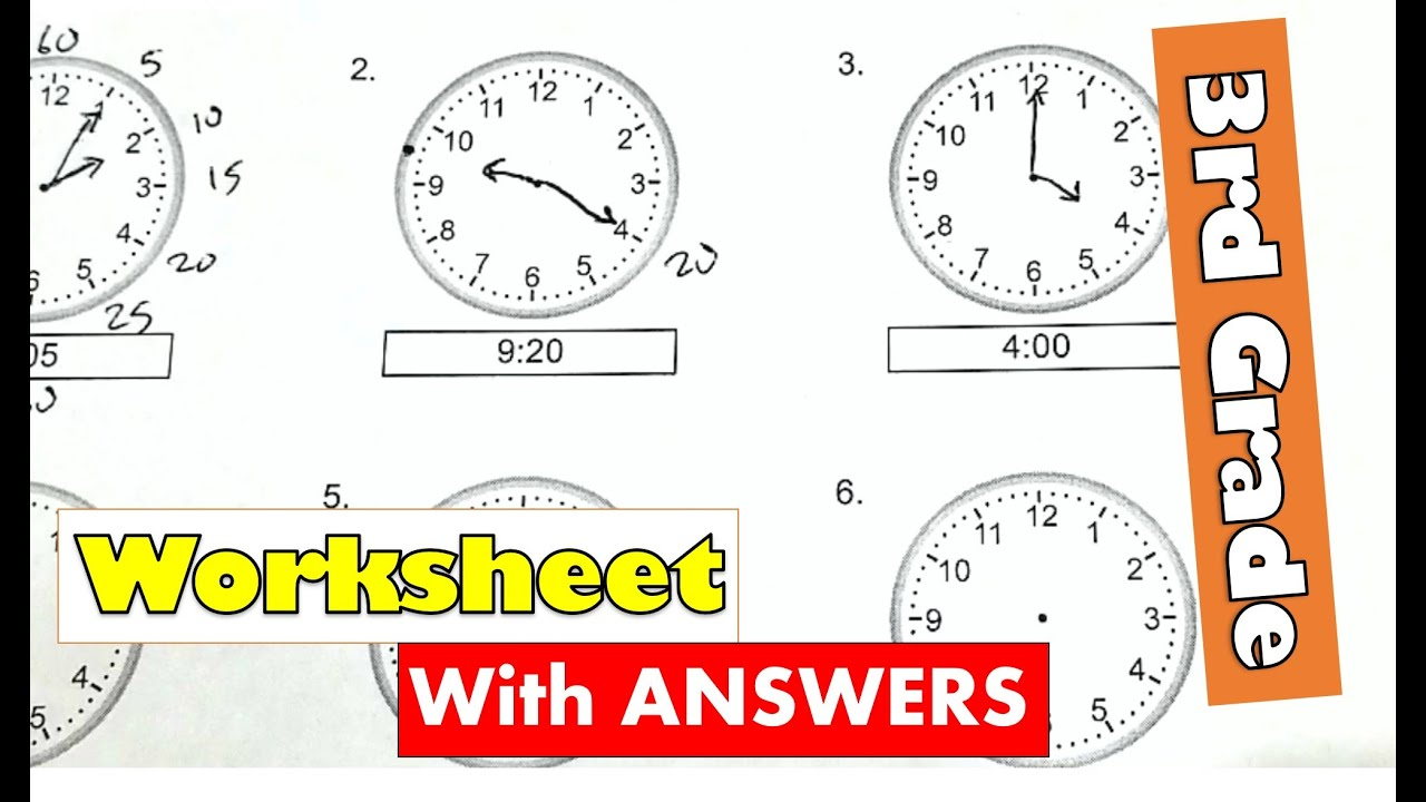 medium resolution of 3rd Grade Math - Tell Time By 5 Minutes Draw Clock Worksheet With Answers    Learn From Home - YouTube