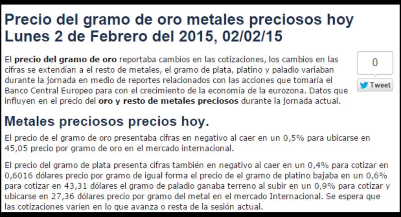 Precio Del Gramo De Oro Hoy Lunes 2 Febrero 2017 02 15