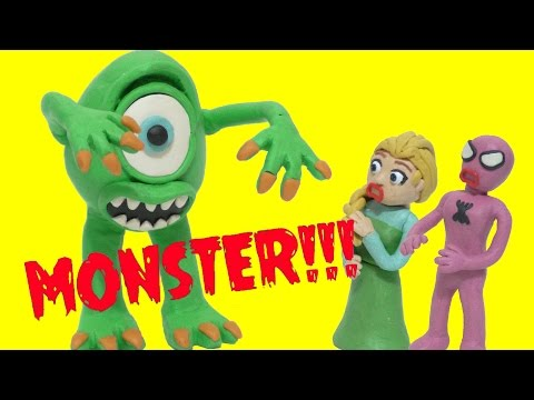 Real MONSTER Mike Wazowski with Frozen Elsa and Spidergirl in Real Life Stop Motion Animation