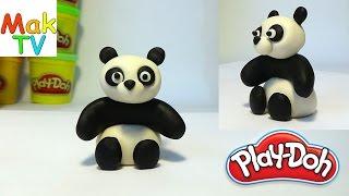 Панда. Как слепить из пластилина Плей До. How to make a panda of Play-Doh, modeling clay.
