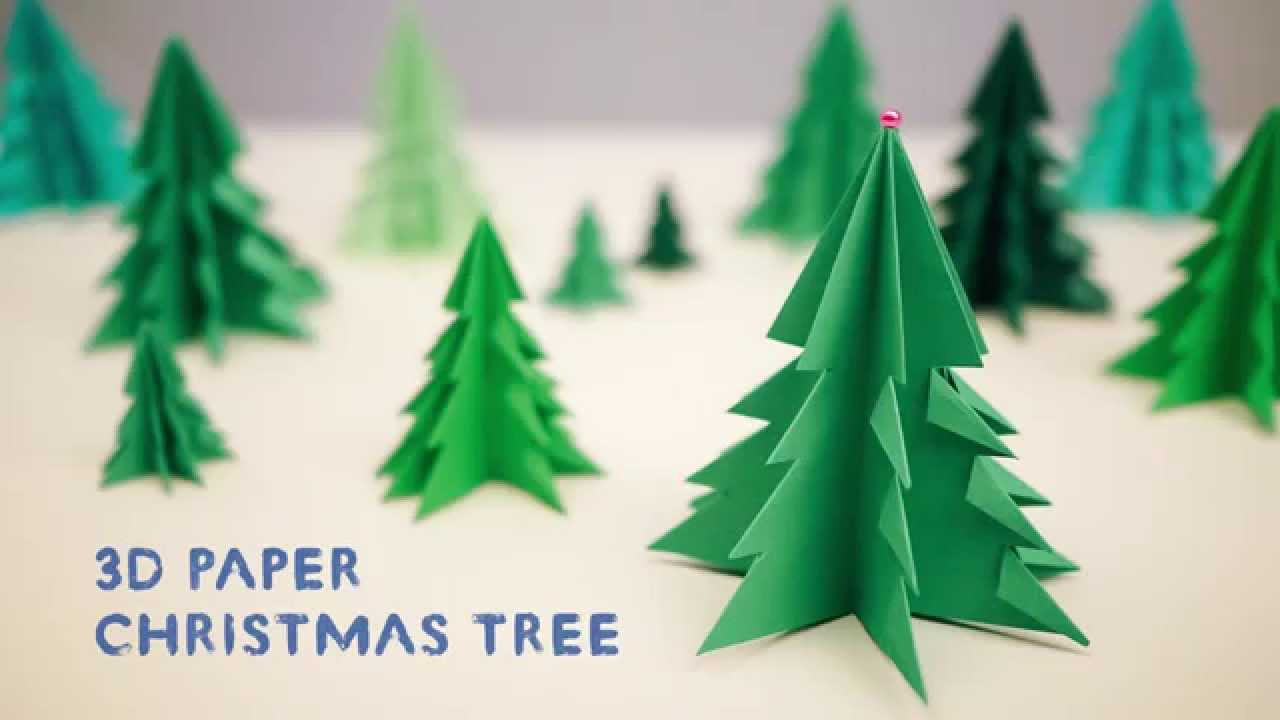 3d paper christmas tree youtube - Paper Christmas Tree Decorations