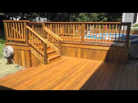 outdoor patio and deck around pool - Above Ground Pool Deck Off House