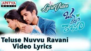 Teluse Nuvvu Ravani Video Song With Lyrics II Oka Laila Kosam Songs II Naga Chaitanya
