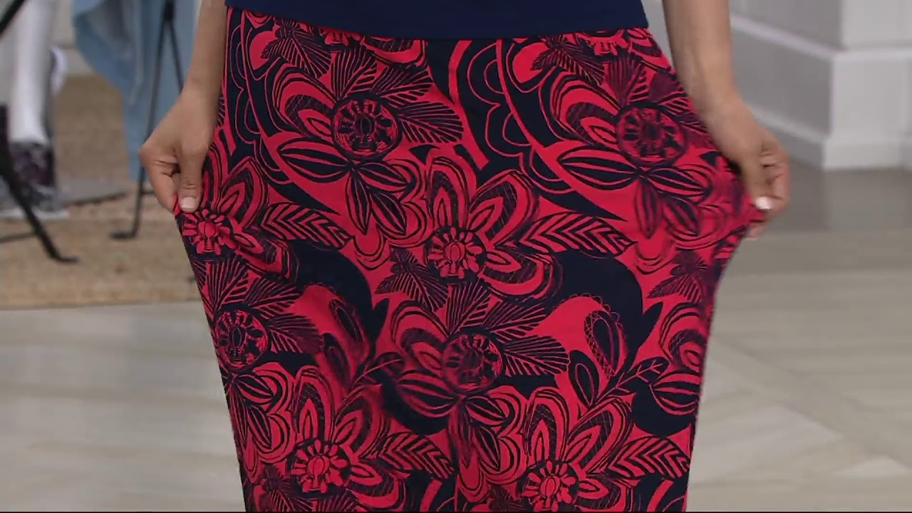 f32160336 Susan Graver Printed Liquid Knit Maxi Skirt with Slit on QVC - YouTube