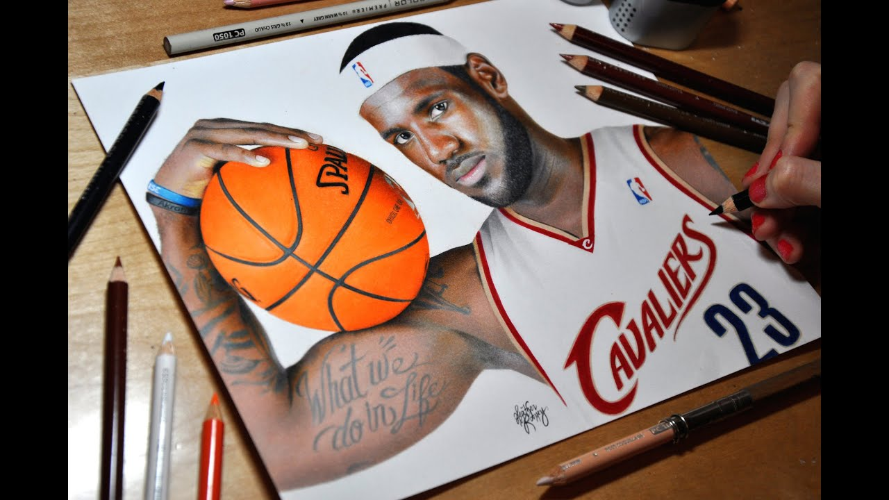 Drawing Lebron James Cleveland Cavaliers Youtube