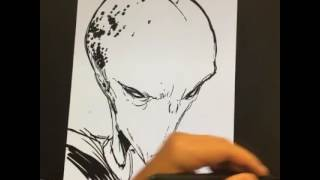 Live Drawing of an Alien