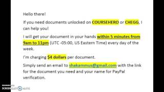 Get yout Course Hero and Chegg documents quick!