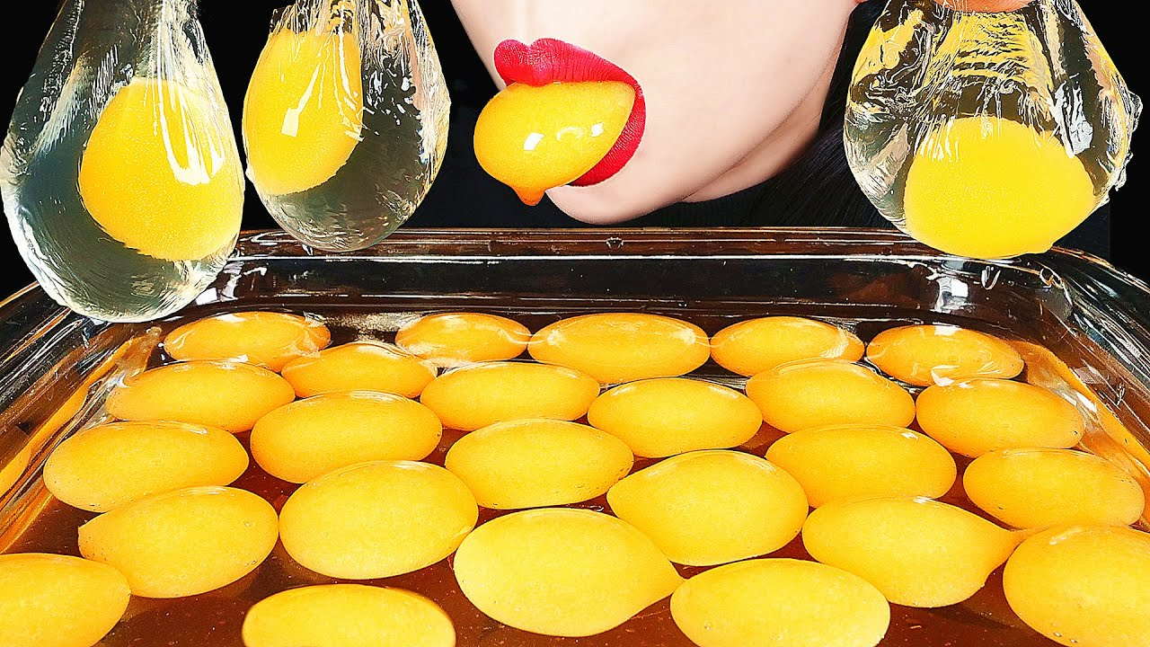 ASMR RAW EGG YOLK EDIBLE WATER BOTTLE *NO PLASTIC HOW TO MAKE GIANT POPPING BOBA EATING SOUNDS ABBEY