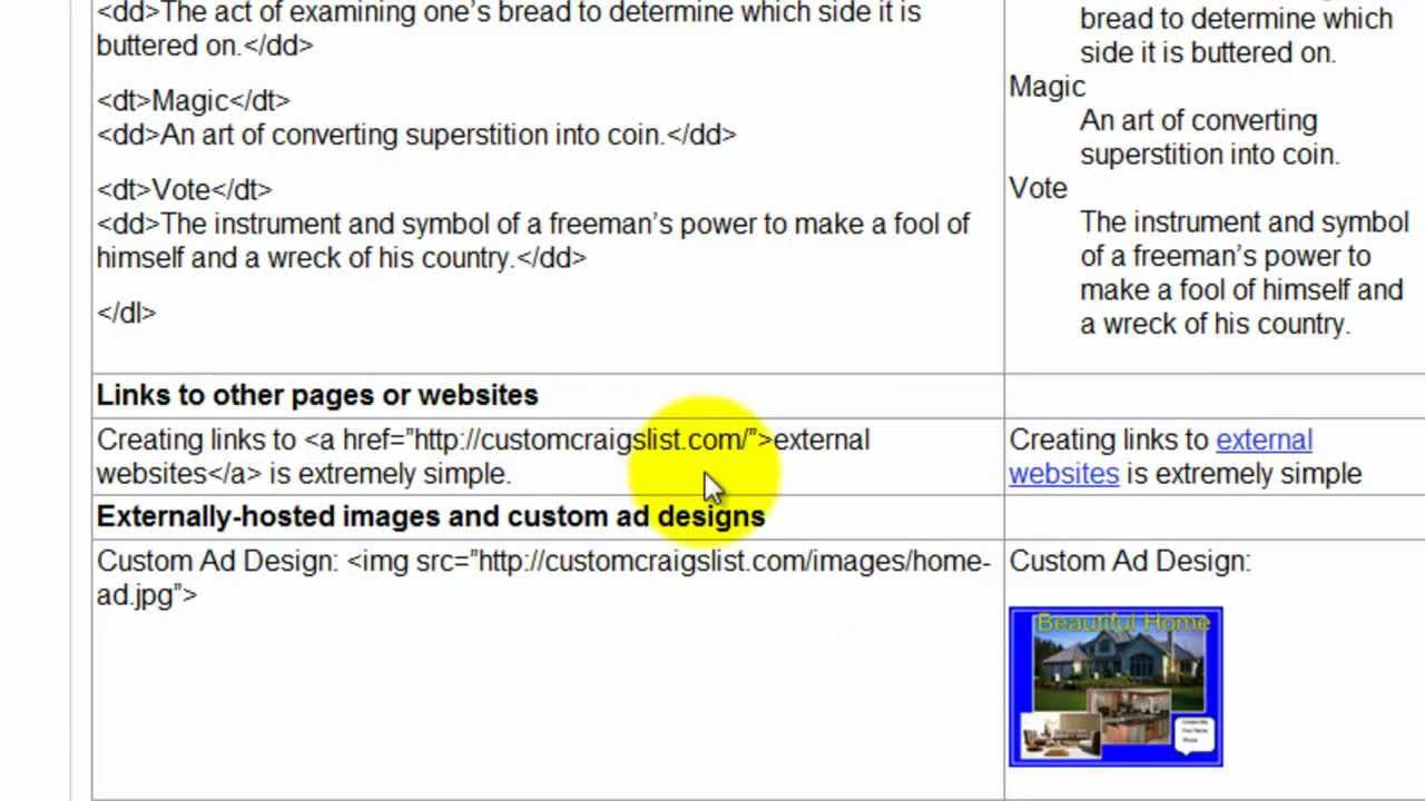 How to style text in a craigslist post with html tags