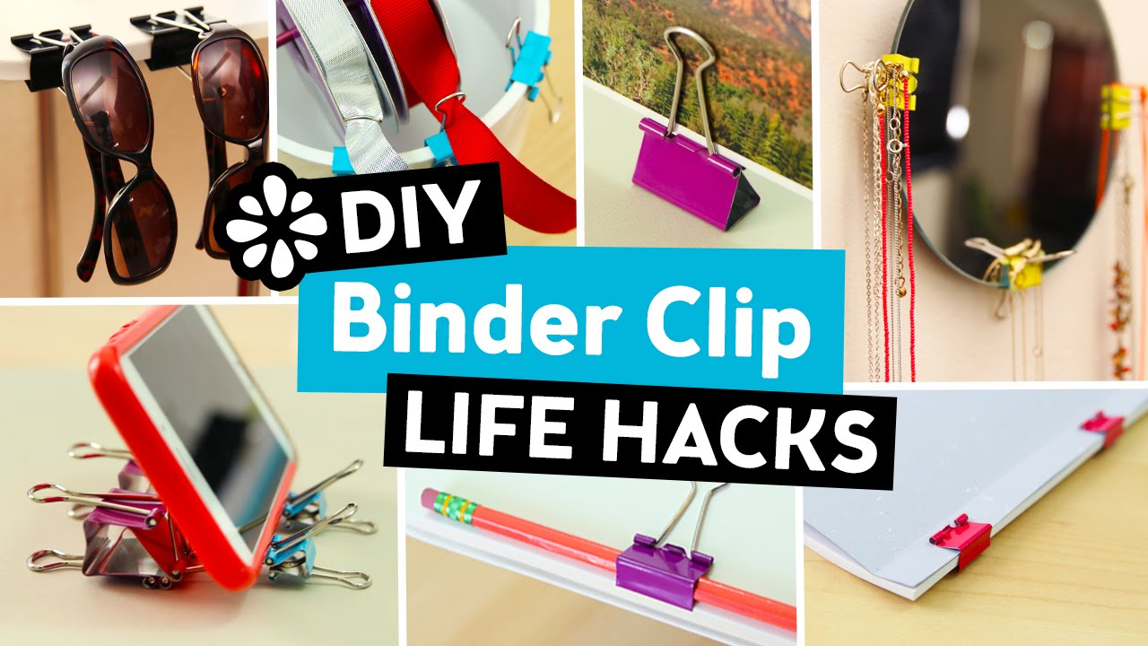 Diy Life Hacks Part - 36: 10 Easy DIY Binder Clip Life Hacks | Sea Lemon - YouTube