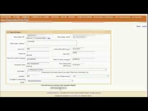 Generating Online CST Way Bill For AP VAT Dealers