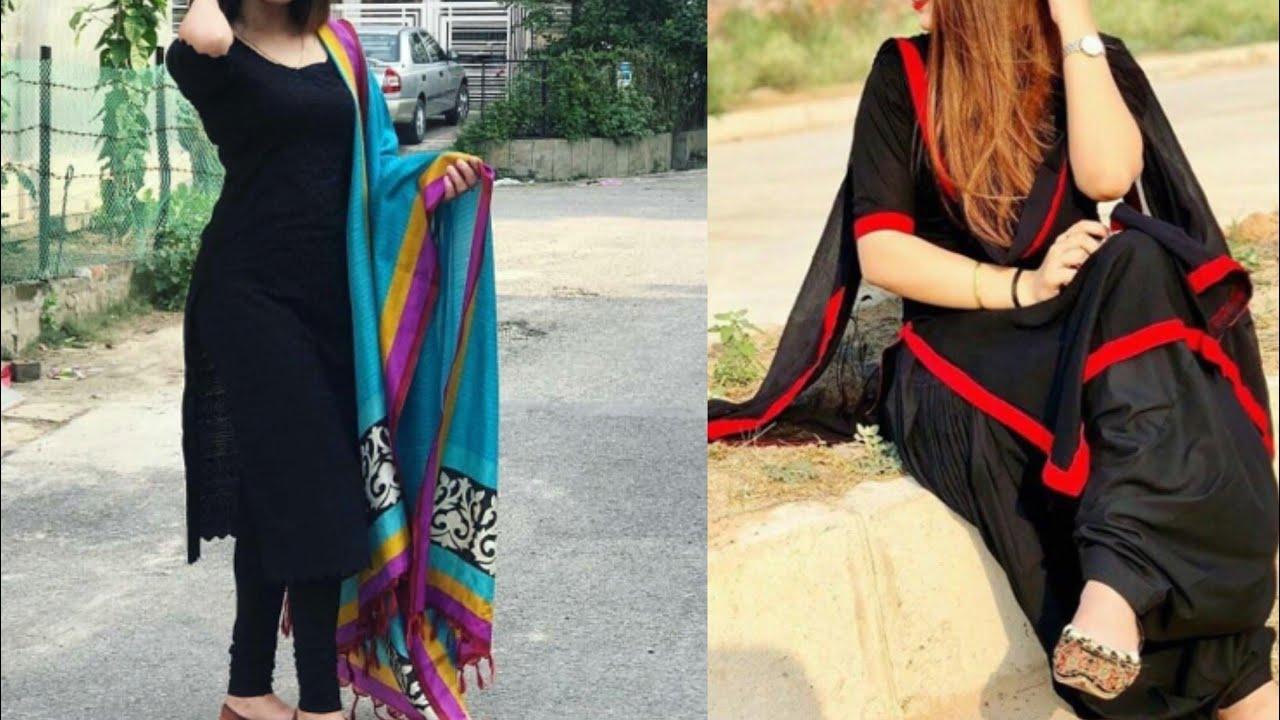 6998a8a978 Black suit design ideas/plain black kurta with contrast dupatta design ideas