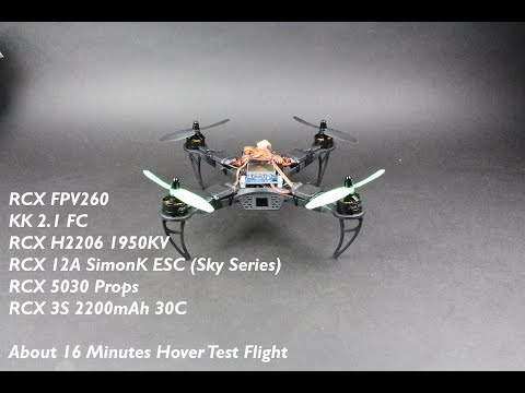 RCX FPV260 RTF Multirotor Quadcopter Test Flight + H2206 1950KV + 5030 Prop + 3S 2200mAh 30C Hover