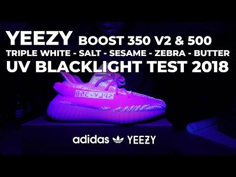 Adidas Yeezy Boost UV BLACKLIGHT TEST 350 V2 Sesame Zebra Butter Triple White Cream 500 Salt
