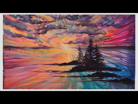 """Acrylic Painting Tutorial Of """"West Coast Sunset"""" Step By Step"""