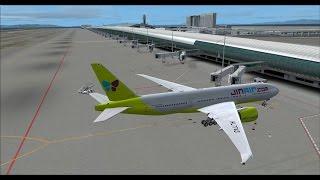 PMDG 777 Jin air 124 RJBB to RJAA on vatsim and hard landing,fsx,fs2crew