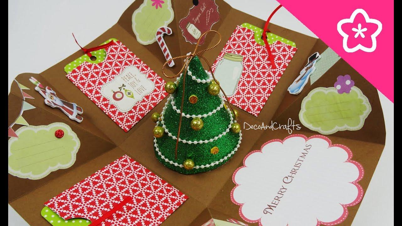 Cajita tarjeta explosiva navidad excelente idea para - Tarjetas de navidad manuales ...