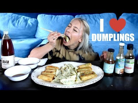 VEGAN DUMPLINGS & SPRING ROLLS MUKBANG (eating show)🤤(while venting about being an adult lol)
