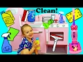 Melissa & Doug KITCHEN CLEANING Pretend Play Minnie Mouse Vacuum & Baby Bathtub + Ava Surprise Toys