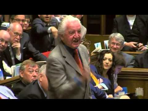 Dennis Skinner, M.P. Shouting for British Miners