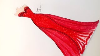 Come To See How I Draw This Beautiful Red Dress || Fshion Design