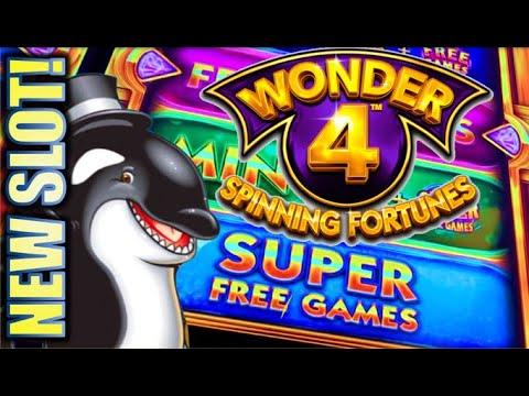 ★NEW SLOT!★ WONDER 4 SPINNING FORTUNES SUPER FREE GAMES Slot Machine Bonus (Aristocrat)