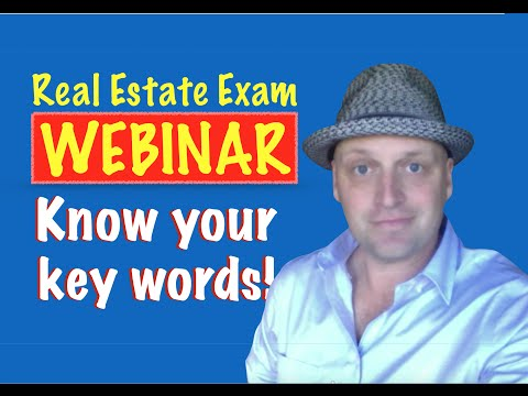 Know your Key Words for the Real Estate Exam!