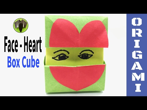 Heart Face  - Cube Box - DIY Origami Tutorial by Paper Folds - 697