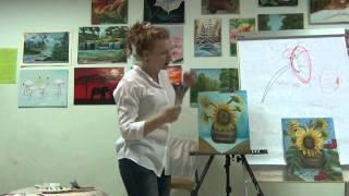 Урок живописи. Осенний подсолнух - живой мастер класс масло. Урок интуитивной живописи.
