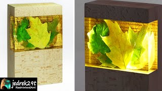 Night Lamp with Autumn Leaves / RESIN ART