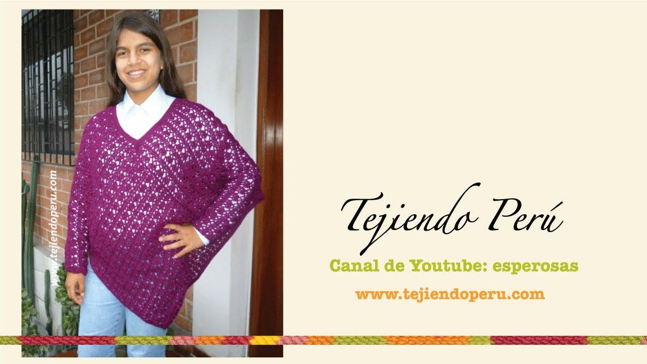 Poncho con mangas tejido a crochet - YouTube