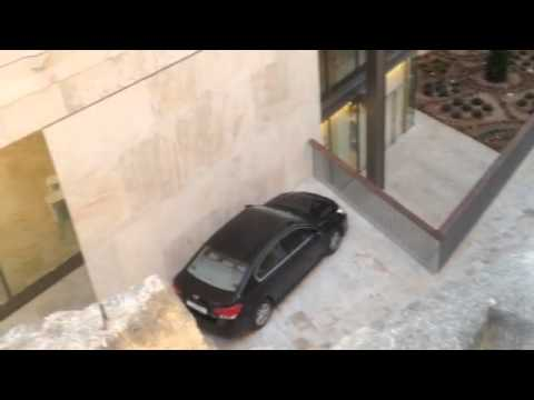 Anglu Farrugia finds a convenient parking space at Parliament House, Valletta