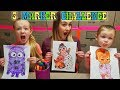 3 MARKER CHALLENGE!!! Coloring Cartoon Art With Our Mom! Boss Baby, Minions, & Hatchimals!!!