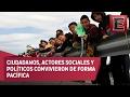 """Forman """"muro humano"""" en Ciudad Juárez contra política migratoria de Trump"""