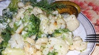 Брокколи и цветная капуста в сливочно сырном соусе с макаронами