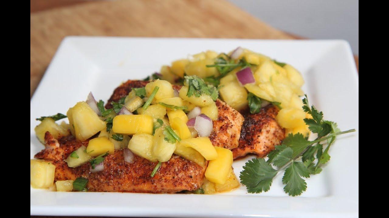 Chili salmon w pineapple mango salsa recipe yum youtube ccuart Image collections