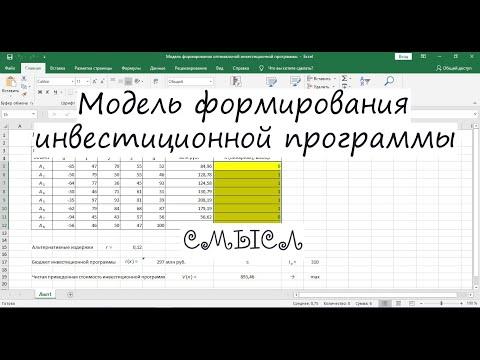 Модель формирования инвестиционной программы в Excel