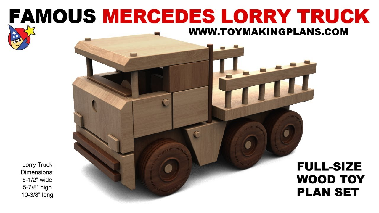 Wood toy plan free mercedes lorry truck youtube for Toy plans